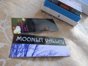 This mini moo card is promoting my business and the novel.